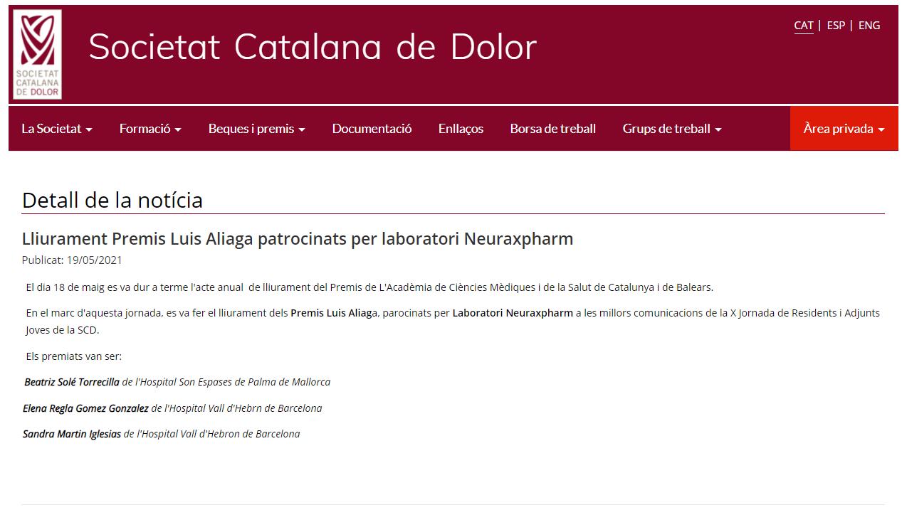 Entrega de los premios Luis Aliaga 2021 por la Societat Catalana del Dolor